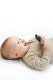 Little boy with mobile phone Royalty Free Stock Images