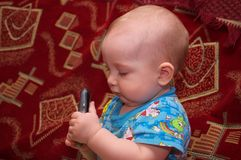Little boy with mobile phone Stock Photography