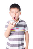 Little boy with  mobile phone in hand isolated on white background Stock Photography