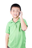 Little boy with  mobile phone isolated on white background Royalty Free Stock Image