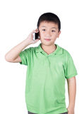 Little boy with  mobile phone isolated on white background Royalty Free Stock Photos
