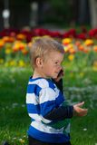 Little boy and mobile phone. Stock Photo