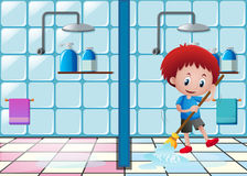 Little boy mopping the bathroom floor stock illustration