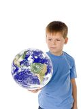 The little boy  and mother Earth Stock Photography
