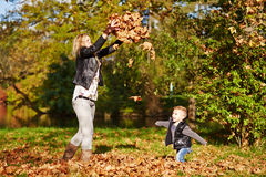 Little boy and mother playing together royalty free stock photography