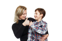 Little boy with mother thumb up Royalty Free Stock Photos