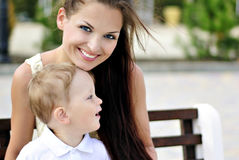 The little boy with mother on walk Stock Photos
