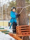 Little boy mountaineering stock image