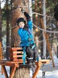 Little boy mountaineering royalty free stock image