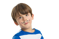 Little Boy With A Mustache Drawn Stock Photography
