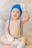 Little boy in a nappy and with blue eyes Royalty Free Stock Image