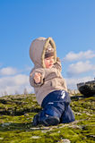 Little boy  in the nature. The little boy has dangerously slipped on a moss on a rock in the autumn Royalty Free Stock Photography
