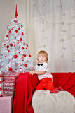 Little boy near Christmas tree Stock Images