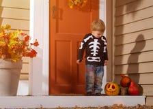 Little Boy Near Halloween Pumpkin Royalty Free Stock Images