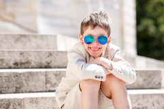 Little boy in a nice suit and glasses. Back to school. Children portrait Stock Photography