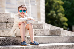Little boy in a nice suit and glasses. Children portrait Royalty Free Stock Image