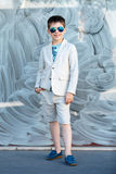 Little boy in a nice suit and glasses. Children portrait Stock Photos