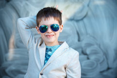 Little boy in a nice suit and glasses. Children portrait Royalty Free Stock Images