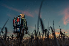 Little boy at night. Little boy with a backpack at night Royalty Free Stock Photography