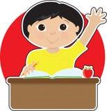 Little Boy no Asian da escola ilustração royalty free