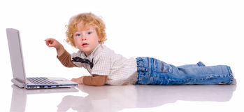 The little boy and notebook Stock Photo