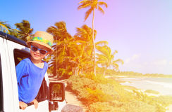 Little boy in off road car, family vacation Stock Image