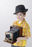 Little boy with an old camera Royalty Free Stock Photography