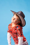 Little Boy On A Blue Background Royalty Free Stock Photography