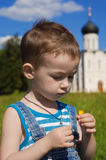 Little Boy On A Orthodox Church Background Royalty Free Stock Image