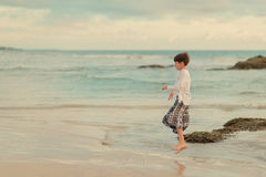 Little Boy On The Ocean Stock Photography