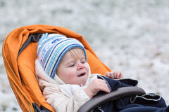 Little  boy one year old in warm winter clothes Royalty Free Stock Image
