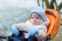 Little  boy one year old in warm winter clothes Royalty Free Stock Photography