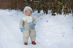 Little  boy one year old in warm winter clothes. Portrait of little baby boy in winter clothes outdoor Stock Images