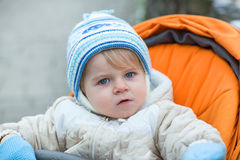 Little  boy one year old in warm winter clothes Stock Photography