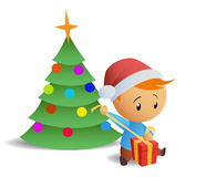 Little boy open gift box. Vector illustration of little boy in red hat open christmas gift box with christmas tree on background Royalty Free Stock Images