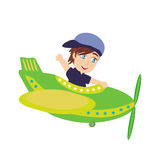 Little Boy Operating a Plane Royalty Free Stock Photos