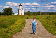 Little boy on a orthodox church background Royalty Free Stock Images