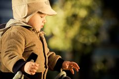 Little boy outdoors Royalty Free Stock Images