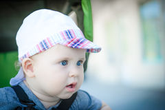 A little boy outdoors Stock Photo
