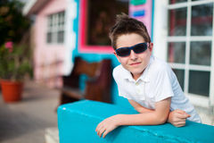 Little boy outdoors at summer. Casual portrait of cute little boy outdoors on summer day Stock Photography