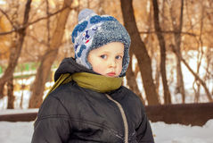 Little boy outdoors in winter Royalty Free Stock Photo
