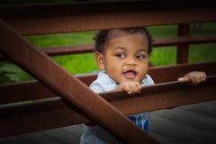 Little boy outside Stock Images