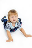 The little boy in overalls royalty free stock photos