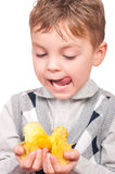 Little boy with packet potato chips Stock Photos