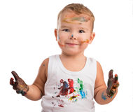 Little boy  with painted face and hands Stock Photography