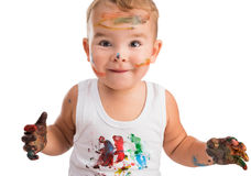 Little boy  with painted face and hands Royalty Free Stock Photography