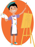 Little boy painting with an easel. Little cartoon boy standing with a palette and a brush in front of an easel, vector illustration Stock Photos