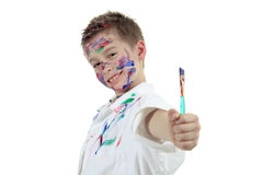 Little boy with painting face over white Royalty Free Stock Photography