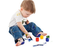 Little boy painting on the floor Royalty Free Stock Photos