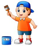 Little boy painting with paint brush Stock Photos